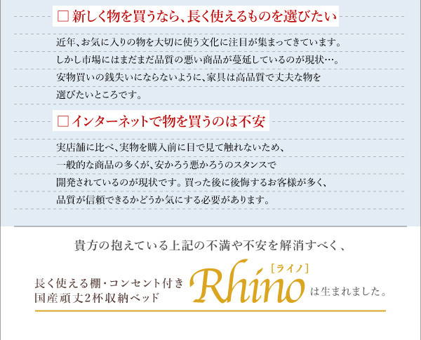 国産収納ベッド【Rhino】ライノ:商品説明4