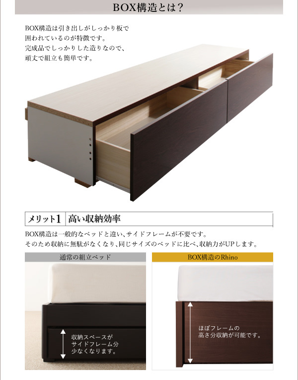 国産収納ベッド【Rhino】ライノ:商品説明13