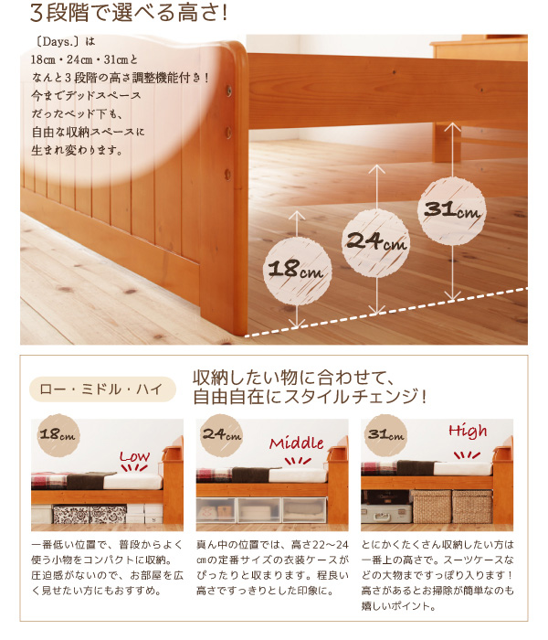 天然木すのこベッド【Days.】デイズ:商品説明4