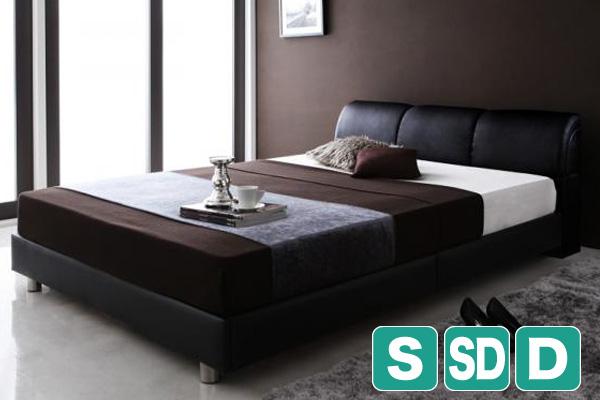 レザータイプのモダンデザインベッド