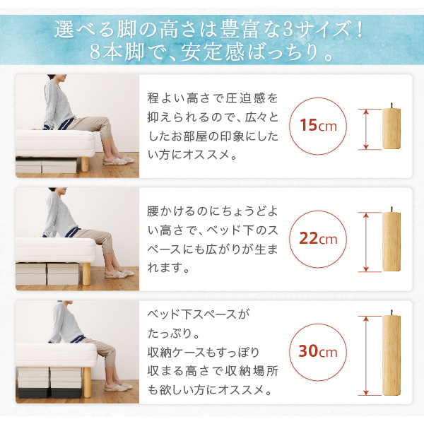 ベーシック脚付きマットレスベッド:商品説明17