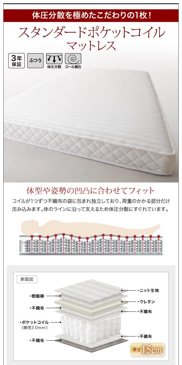モダンライト・コンセント付き収納ベッド【Crest fort】クレストフォート:商品説明12