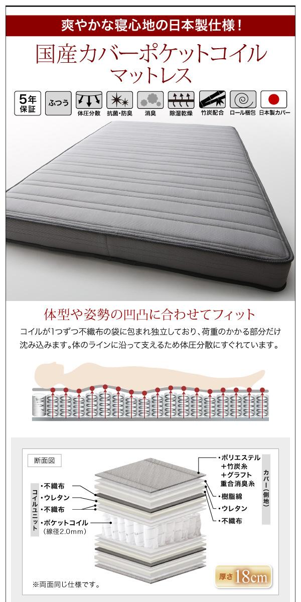 モダンライト・コンセント付き収納ベッド【Crest fort】クレストフォート:商品説明18