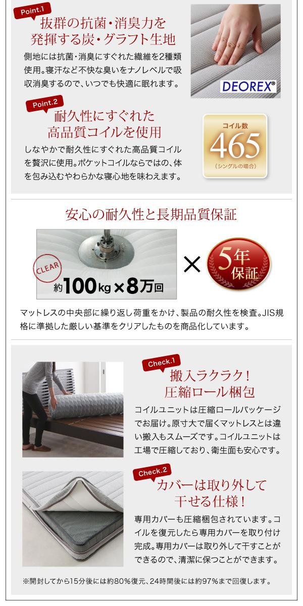 モダンライト・コンセント付き収納ベッド【Crest fort】クレストフォート:商品説明19