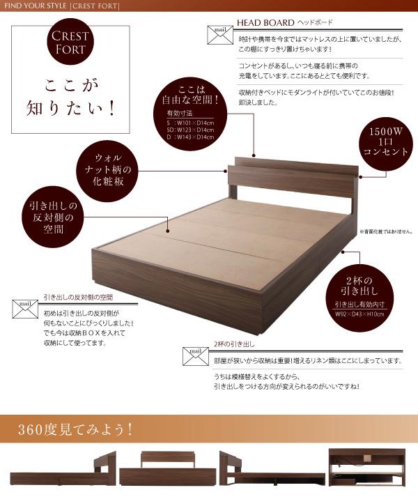 モダンライト・コンセント付き収納ベッド【Crest fort】クレストフォート:商品説明22