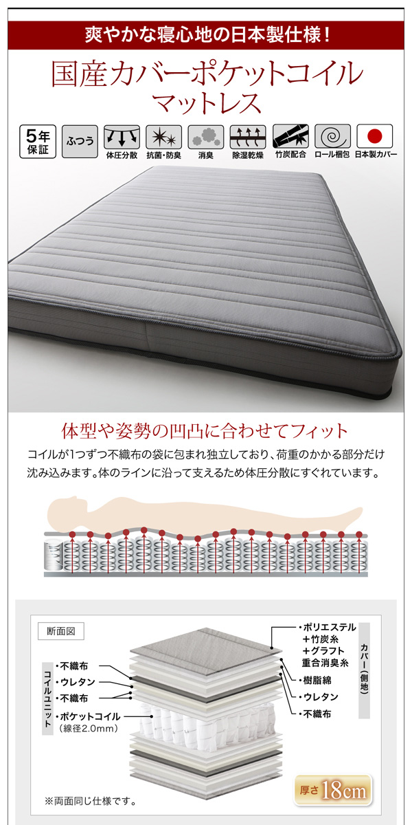 LEDライト・コンセント付き収納ベッド【Estado】エスタード:商品説明20