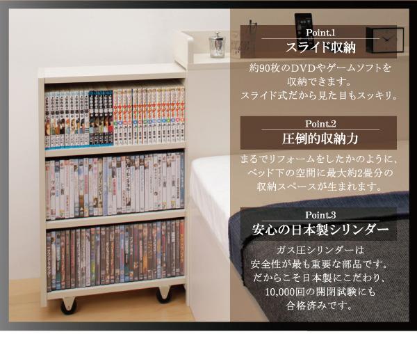 ガス圧式跳ね上げ収納ベッド【Many-IN】メニーイン:商品説明2