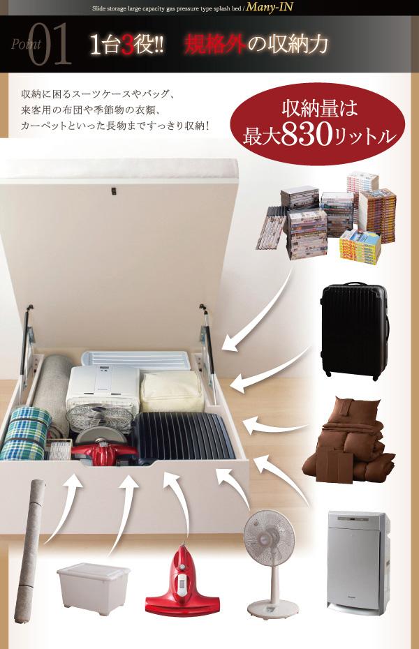 ガス圧式跳ね上げ収納ベッド【Many-IN】メニーイン:商品説明3