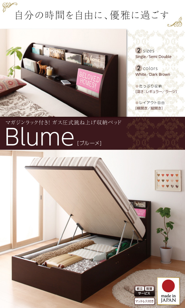 ガス圧式跳ね上げ収納ベッド【Blume】ブルーメ:商品説明1
