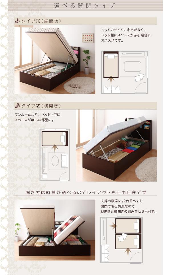 ガス圧式跳ね上げ収納ベッド【Blume】ブルーメ:商品説明8