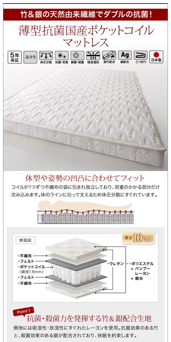 ガス圧式跳ね上げ収納ベッド【Blume】ブルーメ:商品説明23