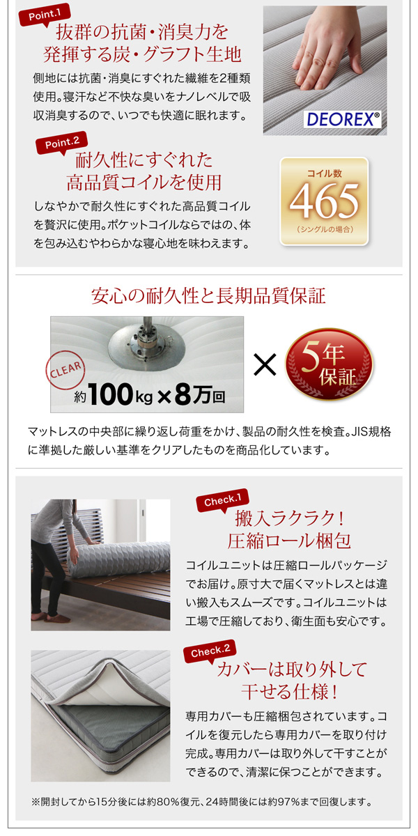ガス圧式跳ね上げ収納ベッド【Kezia】ケザイア:商品説明28